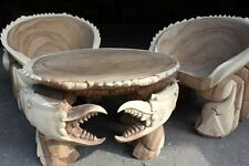 Hand-crafted TEAK Wooden Crab Table & 2 Chairs - Restaurant Under the Sea Themed