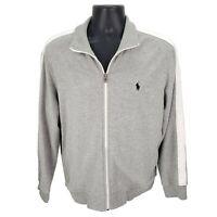 Polo Ralph Lauren Full Zip Mock Neck Gray Sweater Jacket White Stripe Mens Large