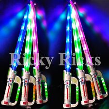12 Light-Up Ninja Long Swords w/ Sound Flashing LED Toy Sticks Glow Party Lot