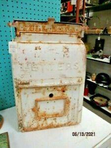 ANTIQUE CAST IRON WHITE CHIPPY PAINT US MAILBOX POSTAL POST OFFICE