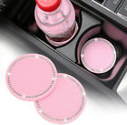 2PCS Car Accessories For Women Pink Cup Holder Insert Coaster Bling Rhinestone