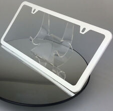 Powder Coated Flat White Stainless Steel License Plate Frame Holder Slim 2 Hole