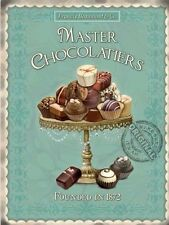 Master Chocolatiers Vintage Kitchen Cafe Chocolate Food Small Metal/Tin Sign