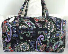 Vera Bradley Kiev Black Paisley Large Duffel Bag Duffle 21 X 11