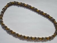 Vintage gold tone choker style necklace with faux opal and faux marcasite