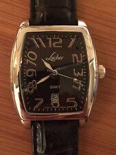 By Lacher Heren Horloge 21e Eeuw Zwarte Wijzerplaat Zwarte Lederen Band