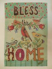 """Bless this Home"" Artistic Collage of Birds for Spring & Summer Garden flag"