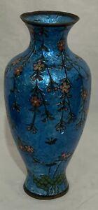 Beautiful Antique Japanese Cloisonné Shippo Glass Enamel Blue Vase and flowers