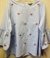 New Hannah Women XL Chambray Embroidered Rose Floral Hippie Boho Bell Sleeve