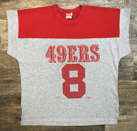 49ers Steve Young No 8 Single Stitched 90s Gray Red Tee Shirt Men's XL 🚚FREE📦