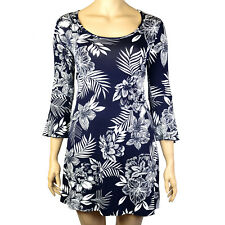 PLUS SIZE NAVY BLUE BELL SLEEVE FLORAL LEAF PRINT DRESS Sizes 16 - 26