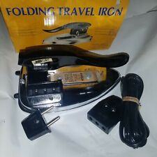 NOS Vintage World Dual-Voltage Travel Iron Model With Folding Handle