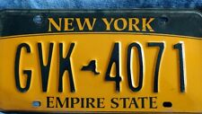 USA Original & Genuine NEW YORK LICENSE PLATE Empire State GVK 4071 American