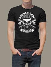 T-Shirt Barbershop Beard Skull Oldschool Barber Rockabilly Biker Retro Cool