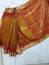 Womens Red Orange Partywear Pattu Sari