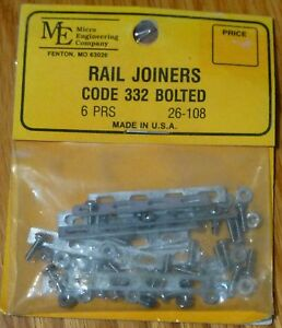 Micro Engineering Company G #26108 Rail Jointer Code 332 Bolted Style 6 Sets