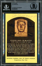 Joe DiMaggio Autographed Signed HOF Plaque Postcard Yankees Beckett 12059078