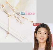 Korean Drama MY LOVE FROM THE STAR Long Pearl Link Chain Wave Earrings Ji-Hyun