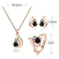 Women's Crystal gold plated Necklace Earring Gift Set Ring Jewelry T2Y4
