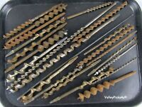 Vintage Lot of Chunky Carpenter Wood Brace Drill Auger Bits Tools - Many Signed