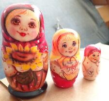 Superb Three smiling girls  sunflower  RUSSIAN NESTING DOLL 3 PCS  LARGE 4.2* #5