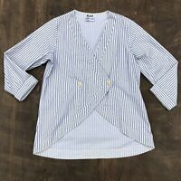 Flax Oversized Blue/White Striped button front Tunic Blouse Small Cotton