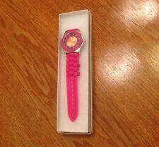 Silicone Gel Rubber Quartz Unisex Jelly Wrist Watch Dark Pink - New Battery