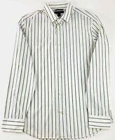 BANANA REPUBLIC Mens Slim Fit Dress Shirt  White Striped w/ Black Sz 15 - 15.5
