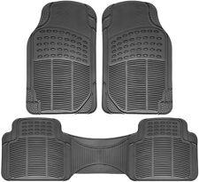 Floor Mats for SUVs Trucks Vans 3pc Set All Weather Rubber Semi Custom Fit Grey