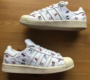 adidas Superstar 80s Summer Icons Embroidered Off White Trainers Size 6,5UK RARE