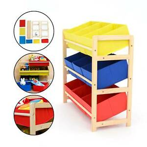 Childrens Kids 3 Tier Toy Bedroom Storage Shelf Unit & 9 Canvas Boxes Drawers