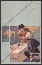 LEOPOLDO METLICOVITZ 25 TOSCA PUCCINI MUSICA OPERA LIRICA Cartolina 1900 viagg.