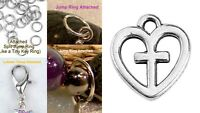 Cross Heart Christian Silver Charm for Bracelet Traditional Dangle Clasp Lobster