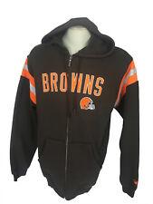 NEW! REEBOK AUTHENTIC NFL CLEVELAND BROWNS FOOTBALL FULL ZIP FLEECE HOODY