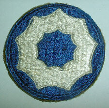 AMERICAN PATCHES-ORIGINAL WW2 UNITED STATES 9th SERVICE COMMAND WHITE BACK