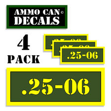 """25-06  Ammo Can 4x Labels for Ammunition Case 3""""x1.15"""" stickers decals 4 pack AG"""