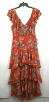 WAYF Womens Orange Floral V-Neck Lined Chelsea Tiered Ruffle Maxi Dress  M $99