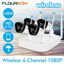 4CH Wireless 1080P DVR CCTV WIFI IP Camera Home Security NVR Recorder System Kit