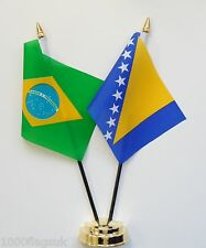 Brazil & Bosnia and Herzegovina Double Friendship Table Flag Set
