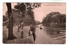 River & Promenade - Bedford Photo Postcard 1916