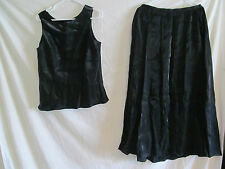 Women's Adrianna Papell Evening Essentials Black Shinny Skirt & Blouse Large 14