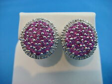 !BEAUTIFUL PINK SAPPHRIES AND HALO DIAMONDS DESIGNER EARRINGS 6.6 GRAMS