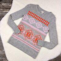 J CREW Womens Sweater XXS Gray Pink Fair Isle Geometric Wool Blend Pullover