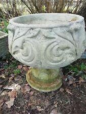 Large Round Decorative Weathered Cast Stone Garden Pot Planter On Plinth