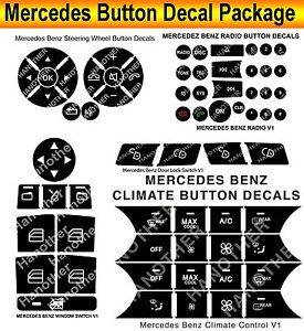 2007-2014 Mercedes Benz Button Repair Package Steering AC Window Decals Stickers