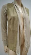 FABIANA FILIPPI en cuir beige coton & soie ouverte devant manches longues Cardigan Top