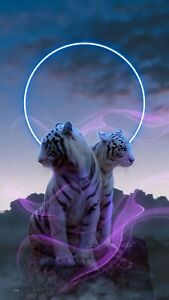 Abstract White Tiger Neon Animals Modern Decor Wall Art Poster/Canvas Picture