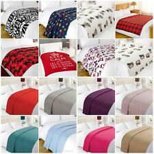 Warm Soft Plain Printed Fleece Throw Large Sofa Bed Cozy Blanket 120 x 150cm