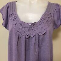 Piper Purple Sleeveless Top Size 10 Cutwork Neckline