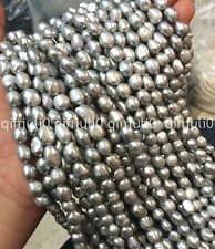"8-9 MM naturel Baroque Blanc Argenté Freshwater Real Pearl Loose Bead 15"" JL273"